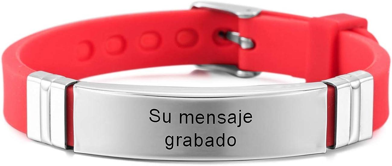 MeMeDIY Nombres De Grabado Personalizados Pulsera De Identificación De Muñeca Deportiva Personalizada para Hombres Mujeres Niños Caucho De Acero Inoxidable Ajustable 13mm Amplia