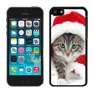 Custom-ized Design Iphone 5C TPU Case Christmas Cat Black iPhone 5C Case 7