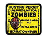 "Embroidered Iron On Patch [Yellow] - Zombie Hunting Permit 3.5"" Patch"
