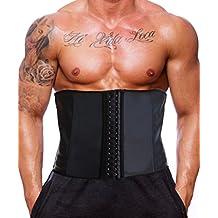 cd09858f68 GainKee Latex Men Waist Trainer Corsets With Steel Bone Sweat Sauna Suit  For Fitness