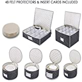 Complete Dinnerware Storage Set #1 Best Protection for Storing or Transporting Fine China Dishes Coffee Tea Cups Wine Glasses Includes 48 Felt Protectors for Plates