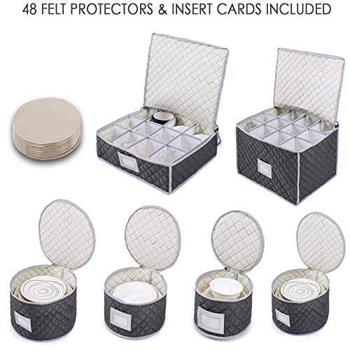 (Complete Dinnerware Storage Set #1 Best Protection for Storing or Transporting Fine China Dishes Coffee Tea Cups Wine Glasses Includes 48 Felt Protectors for Plates)