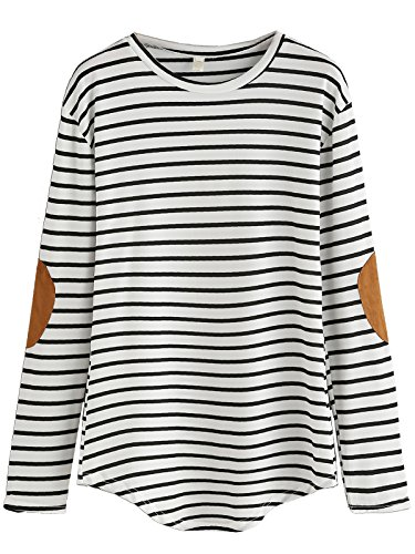 Milumia Women's Elbow Patch Striped High Low Top