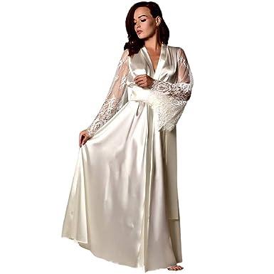 3d44bf0cb6175 KEERADS Peignoir Satin Robe de Chambre Kimono Femme Sexy Dentelle Lingerie  Longue Chemise de Nuit Dentelle