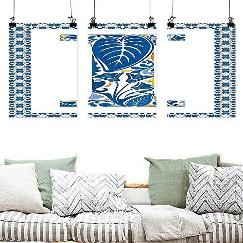 Art Oil Painting Letter I Flower Pattern Portuguese Azulejo Art Color Scheme Mosaic Frame Design Oil Canvas Painting Wall Art 3 Panels 16x31inchx3pcs Blue Yellow Orange