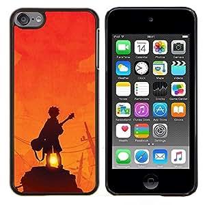 EJOOY---Cubierta de la caja de protección para la piel dura ** Apple iPod Touch 6 6th Touch6 ** --Guitarrista Sunset Roca Naranja
