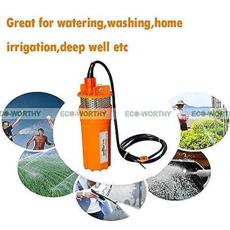 Bomba de agua, de ECO-WORTHY, eléctrica y sumergible, de 24 V CC, funciona con energía solar: Amazon.es: Amazon.es