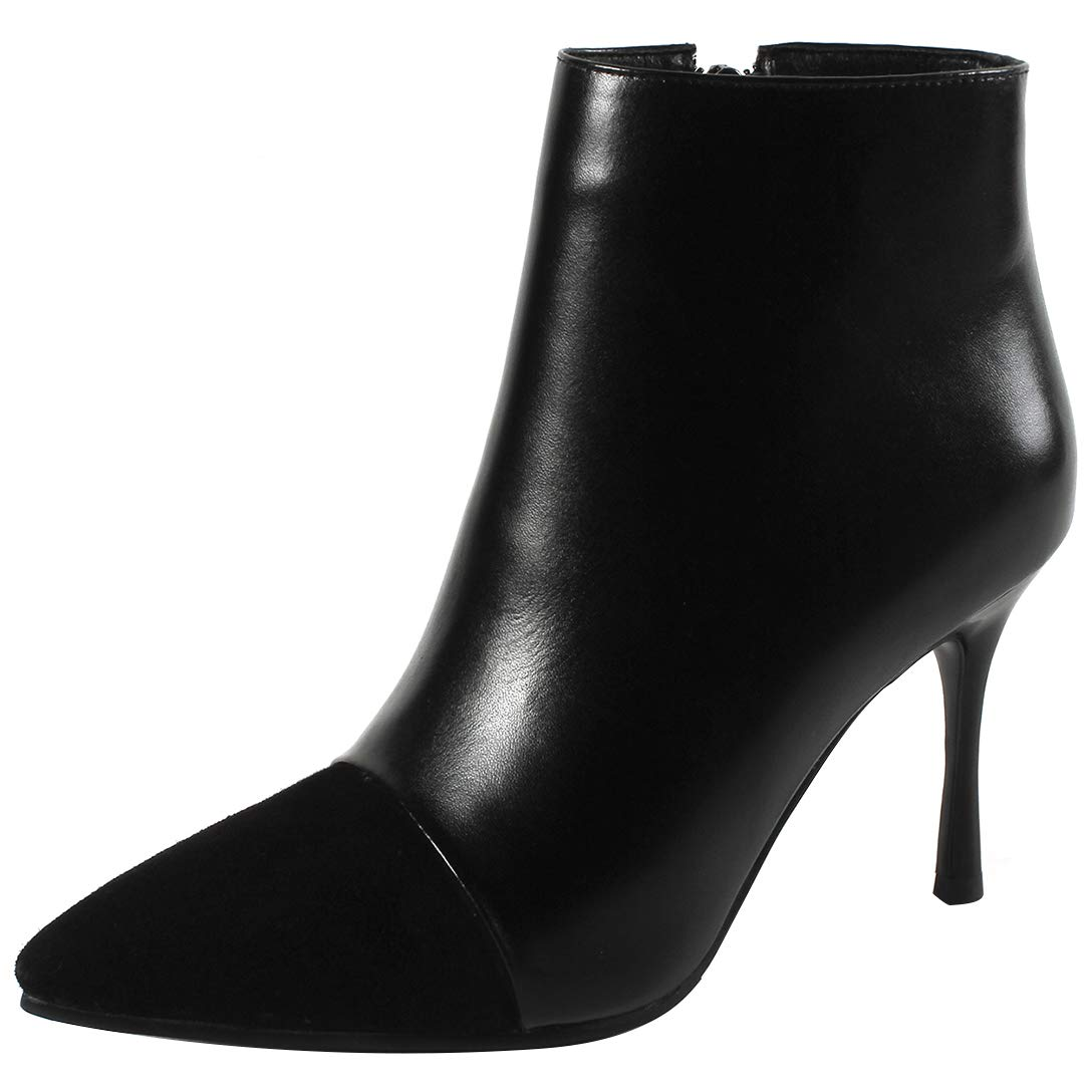 Black Eithy Women's Shache Stiletto Ankle-high Zipper Leather Boots