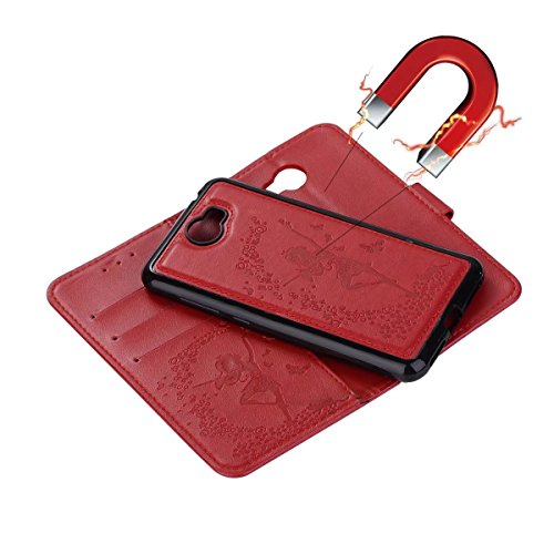 Detachable 2 in 1 Crazy Horse Texture PU Leather Case, Fairy Girl Embossed Pattern Flip Stand Case Pouch Cover with Lanyard & Card Cash Slots for Huawei Y5 II ( 2nd Generation ) ( Color : Red ) Red