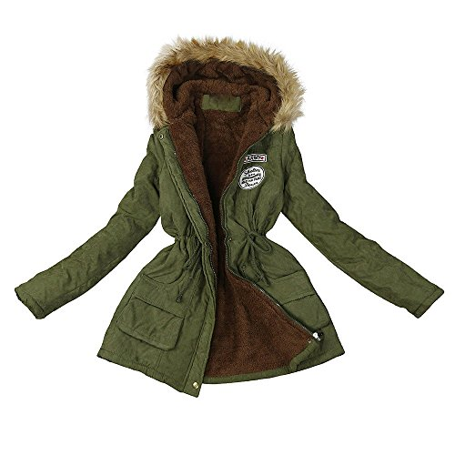 vermers Women Coats Winter, Womens Warm Long Coat Fur Collar Hooded Jacket Slim Parka Outwear(US:10/XL, y-Army Green)