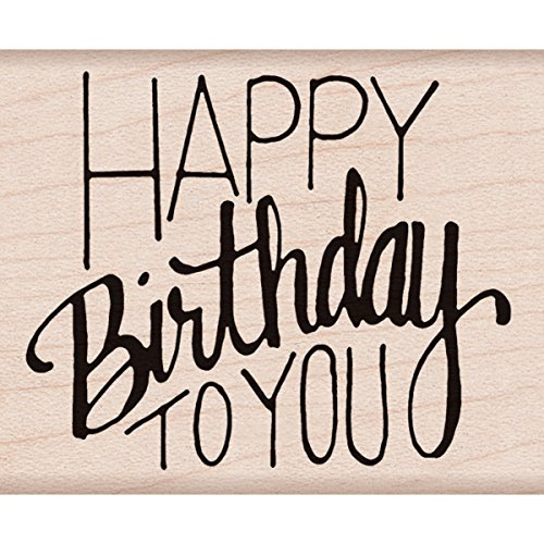 Hero Arts F6068 Happy Birthday to You Woodblock Stamp (Block Lettering)
