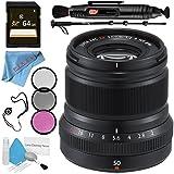 Fujifilm XF 50mm f/2 R WR Lens (Black) 16536611 + 46mm 3 Piece Filter Kit + 64GB SDXC Card + Lens Pen Cleaner + Fibercloth + Lens Capkeeper + 70in Monopod + Deluxe Cleaning Kit Bundle