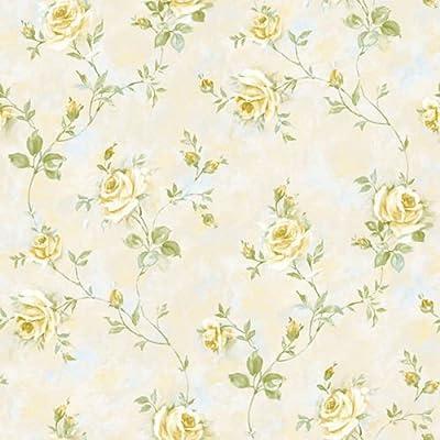 RG35736 - Rose Garden Roses flowers Cream Green Yellow Galerie Wallpaper