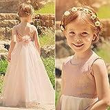 Bab&Luoli Flowers on the yarn princess skirt girls Dress Pink white dark blue long dress gold 10-11y (145cm)