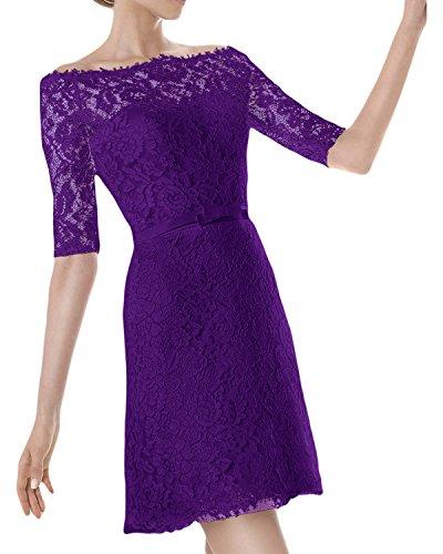 dell'abito tempo donna Violett corta semi sposa dell'abito un'altezza taglio manica Ivydressing polsini U fqgZPg