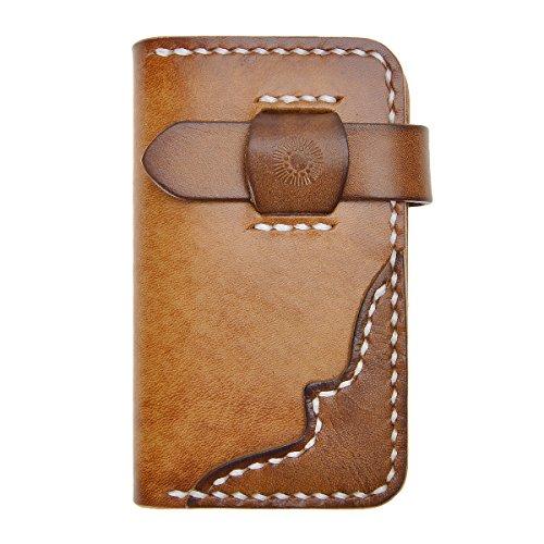 ZLYC Vintage Handmade Vegetable Tanned Leather Key Wallet Card Holder Case (Brown)