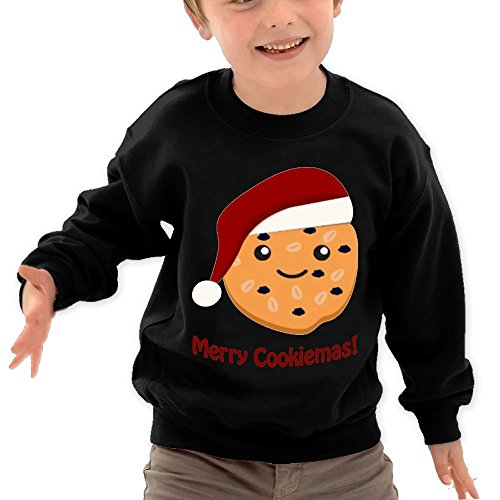 Price comparison product image Puppylol Merry Cookiemas Kids Classic Crew-neck Pullover Hoodie Black 5-6 Toddler