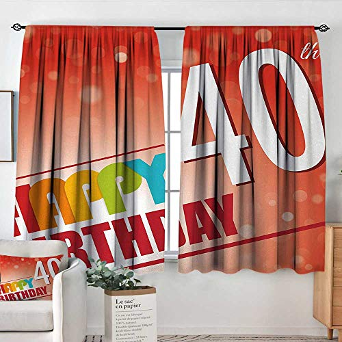 Theresa Dewey Rod Pocket Drapes and Curtain 40th Birthday,Party Invitation in Vibrant Colored Retro Style and on Bokeh Effect Backdrop,Multicolor,Customized Curtains 63