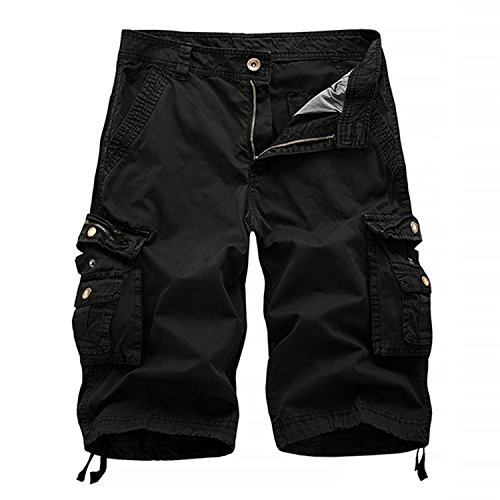 Combat Cargo Shorts - HAKJAY Comouflage Cargo Shorts for Men 3 4 Short (38, Black)