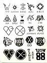 EXO エクソ ロゴ 12人メンバーネーム シンボルマーク WOLF88 XOXO タトゥーシール/刺青シール