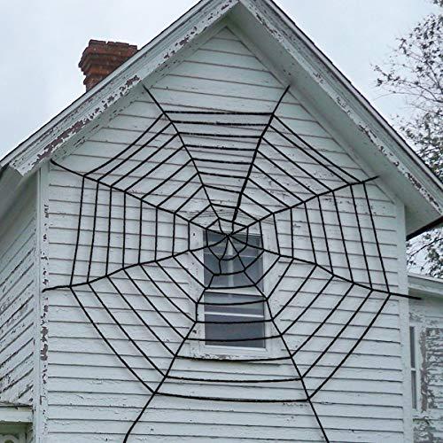 Pawliss Giant Spider Web with Super Stretch Cobweb Set, Halloween Decor Decorations Outdoor Yard, Round Dia. 9 Feet, Black ()