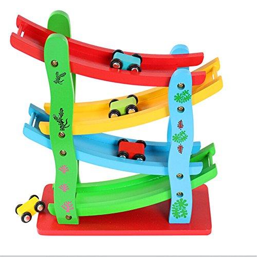 Zhenyuベビーキッズ木製ラダーGliding車木製スロットトラック車おもちゃ教育モデルをスライドおもちゃfor Children Giftsの商品画像