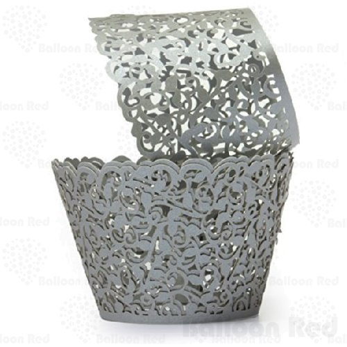 Vines Artistic Filigree Lace Laser Cut Cupcake Wrappers Muffin Case, Pack of 100, Silver Grey