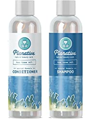 Pure Tea Tree Oil Healing Shampoo and Conditioner Set Anti Dandruff Treatment for Women and Men with Itchy Scalp Weak Hair - Sulfate Free Formula for Healthy Hair Growth color treated Hair