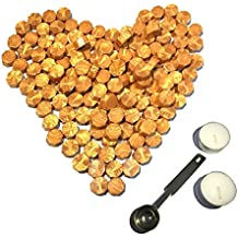 Gold Sealing Wax Beads, Botokon 150 Pieces Octagon Wax Seal Beads Kit with a Wax Melting Spoon and 2 Pieces Candles for Wax Seal Stamp (Gold)