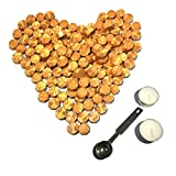gold seal wax - Botokon Gold Sealing Wax Beads, [Other Colors also Available], 150 Pieces Octagon Wax Seal Beads Kit with a Wax Melting Spoon and 2 Pieces Candles for Wax Seal Stamp (Gold)