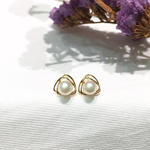 Freshwater Gold Stud (18K Yellow Gold Akoya Pearl Earrings Studs Small 5-5.5mm Round Pearl Stud Earrings Seawater Saltwater Japanese Akoya Pearls 5-5.5mm)