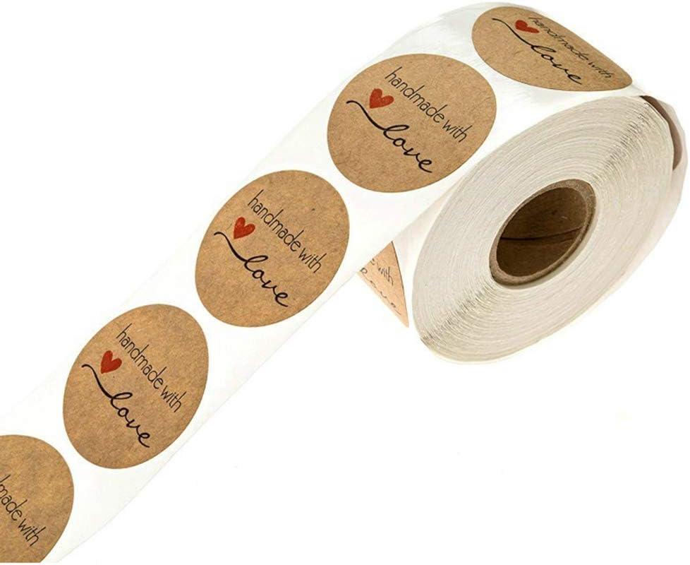 Kraft Handmade Boda Decoraci/ón de Acci/ón de Gracias Regalo para Hornear 500Pcs 1 roll Cartoon Handmade with Love Etiqueta Redonda para Hornear para Regalos Hechos en Casa