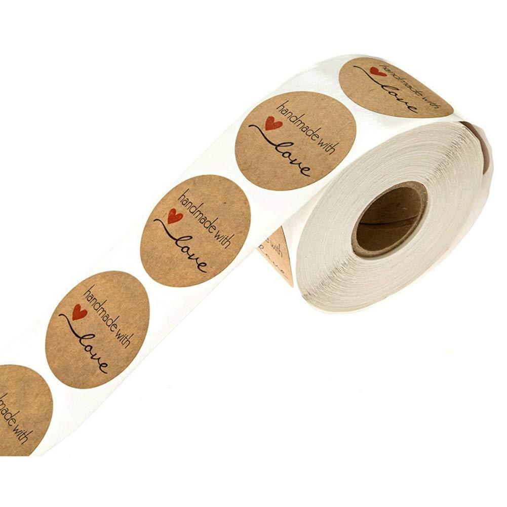 BovoYa 500 St/ück Kraftpapier-Aufkleber Runde Aufkleber Handmade with Love Sticker f/ür Backen Geschenkt/üten Briefumschlag Hochzeit