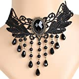 Meiysh Lolita Gothic Black Lace Choker Beads Tassels Chain Pendant Necklace Earrings set