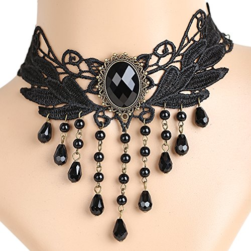 Meiysh Lolita Gothic Black Lace Choker Beads Tassels Chain Pendant Necklace Earrings set 193