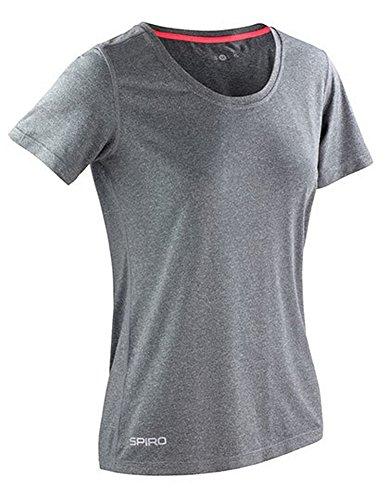Spiro brillante Marl camiseta de fitness para mujer Sport Grey/ Hot Coral