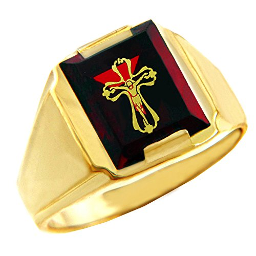 Stone Bezel Yellow Cross (Men's 10k Yellow Gold Red Stone Square and Crucifix Ring (Size 9))