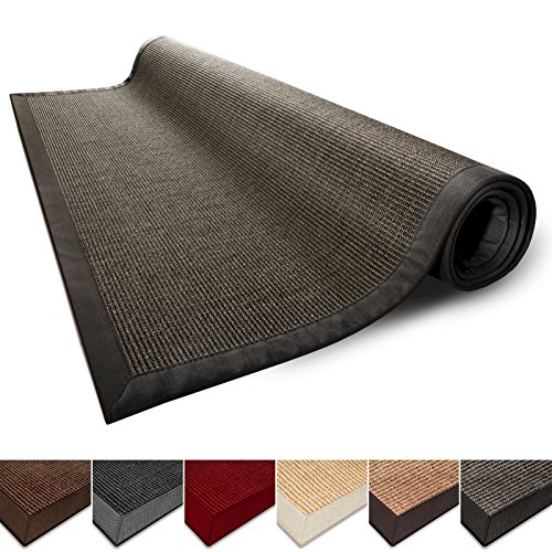 Casa pura Natural Fiber Rug, Sisal | Non Slip Backing, Wide Border | 4'x6' | Grey | 5 Colors
