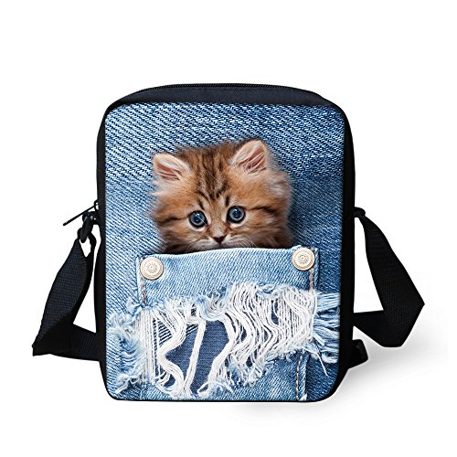 Mini Cute Cat Shoulder HUGS Bag Women Cross 4 Dog Pet Small Printed IDEA Handbags body Denim Pocket UPPSqRAWw