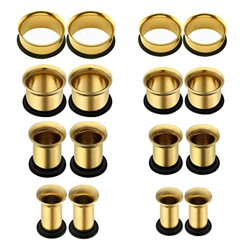 Flesh Flare Tunnels Single (vcmart Gauges for Ear Stretching Tunnel Kit 316L Stainless Steel Flesh Tunnels Plugs Gauge Expanders 8PRS 2G-13/16 Gold)