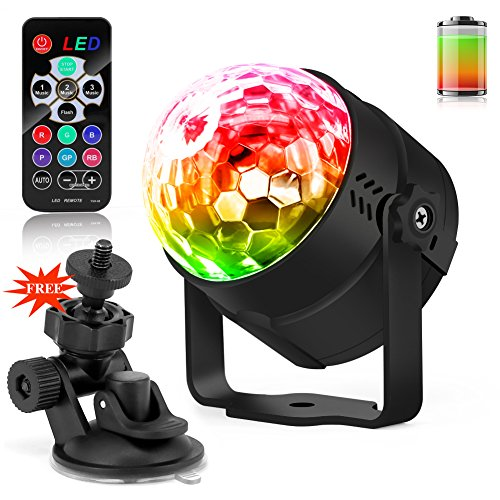 Disco Party LED Lights with Remote Control and Battery - Waitiee 5W ...