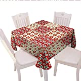 quilt sqaure - longbuyer Cabin Decor Plaid Tablecloth Traditional Quilt Pattern with Spring Garden Flowers Daisies Outdoor Tablecloth with Umbrella Hole 70