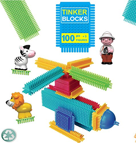 Tinker Toys - Building Blocks Set for Toddlers 2+ Years Old - 100 Pieces + 3 Safari Statues