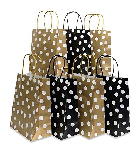 Assorted bright color Kraft paper gift bags, medium, set of 24 bags, 8
