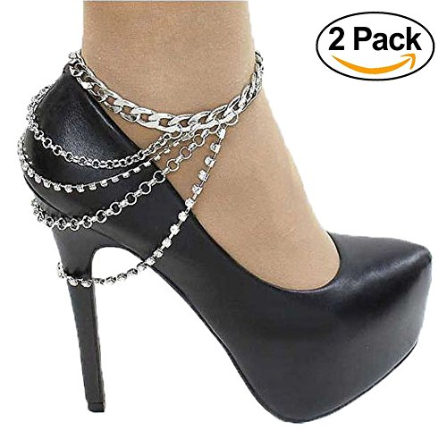Silver Anklet Bracelet for Women Four Layered Rhinestone Tassel Ankle Chain Sexy Foot Jewelry for Pump (Sexy Womens Boots)