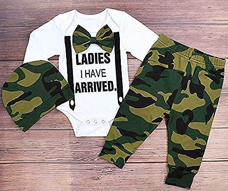 UK 3PCS Newborn Baby Boy Girls Romper Bodysuit Pants Camouflage Outfits Clothes