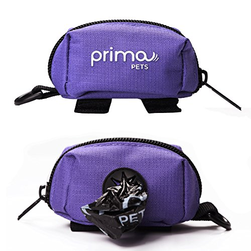 Prima Pets Dog Poop Bag Holder Leash Attachment, Includes 1 Roll of Poop Bags, Waste Bag Dispenser, Lightweight Fabric, Walking, Running or Hiking Accessory (Dispenser + 1 Roll, Purple)