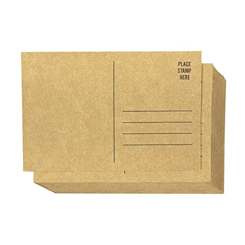 Set of 50 Brown Kraft Paper Blank Postcards Pack - Self Mailer Mailing Side Postcards 50 Pack Postage Saver - 4 x 6 Inches]()