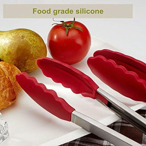 Pinze da Cucina,Pinze per Barbecue Multiuso 9/& 12 Pinze per Alimenti Silicone Antiscivolo Resistente al Calore in Acciaio Inox con Clip di Bloccaggio 2PCS