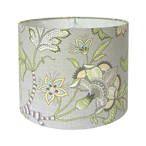 Custom Lamp Shade Floral Lampshade Grey Lamp Shades Fabric Lampshades Clarice/Cir by P Kaufmann in Dove Made to Order 9